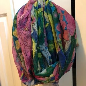 Anthropologie watercolor floral infinity scarf
